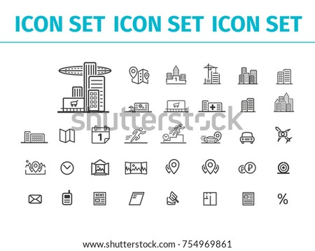 big set of icons on the subject of transport, real estate, cartography, Finance
