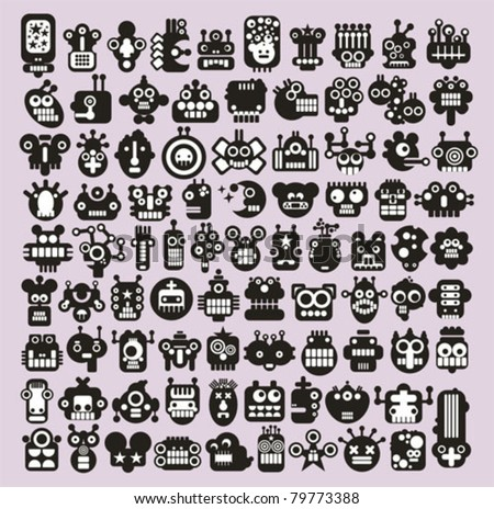 big set of icons with monsters