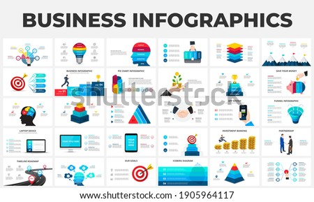 Big set of infographic elements. Can be used for steps, business processes, workflow, diagram, flowchart concept and timeline. Data visualization vector design template. Foto stock ©