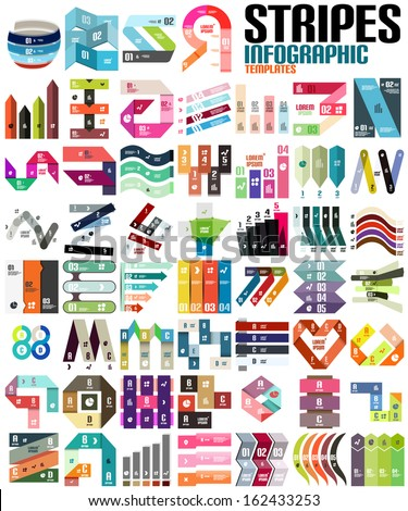 Big set of infographic modern templates - stripes, ribbons, lines. For banners, business backgrounds, presentations