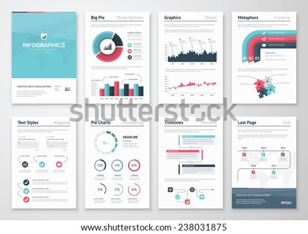 Big set of infographic vector elements and business brochures. Modern styled graphics for data visualization. Use in website, flyer, corporate report, presentation, advertising, marketing etc.