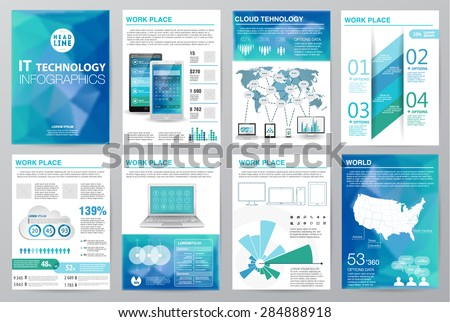 Big set of infographics elements, industrial infographics and Information Graphics. Easy to edit map. Polygonal style. Use in website, flyer, corporate report, presentation, advertising, marketing. A4