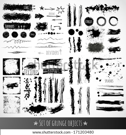 big set of ink grunge objects