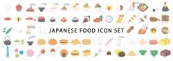 Big Set of Japanese Food Flat Icon