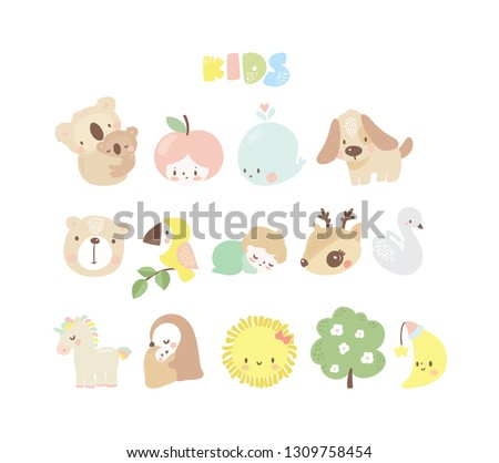big set of kids logos  newborn