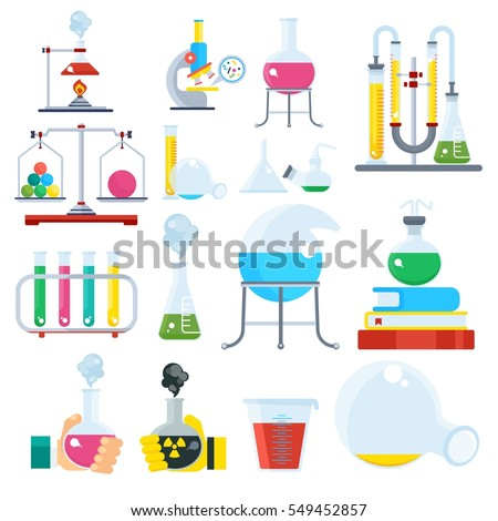 Big set of laboratory equipment. Chemical and physical science experiments, research. Flat vector cartoon illustration. Objects isolated on a white background.