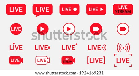 Big set of live streaming vector icons. Red symbols and buttons for broadcasting, livestream or online stream. Design template for tv, online channel, live breaking news, social media, shows, movies