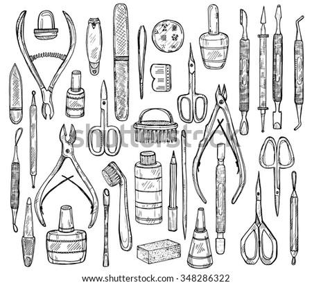 Big Set Of Manicure Equipment Including 34 Tools Scissors Cuticle Nipper Nail Files