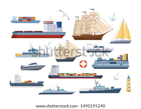 Big set of maritime ships at sea, shipping boats, sail boat, ocean ships, yacht sailing boats, cargo ships. Transportation sailboat, military warship. Water transport boat, vessel vector illustration