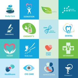 big set of medical icons, vector collection of emblems