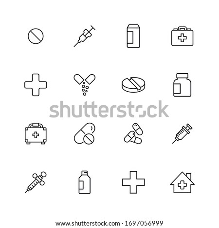 Big set of medicaments line icons. Vector illustration isolated on a white background. Premium quality symbols. Stroke vector icons for concept or web graphics. Simple thin line signs.