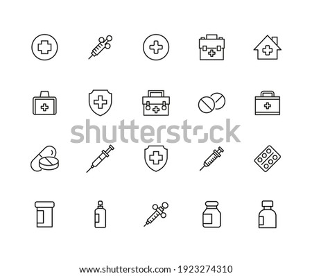 Big set of medicaments line icons. Vector illustration isolated on a white background. Premium quality symbols. Stroke vector icons for concept or web graphics. Simple thin line signs. Photo stock ©