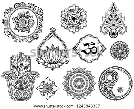 stock-vector-big-set-of-mehndi-flower-pattern-lotus-mandala-mantra-om-yin-yang-symbol-and-hamsa-for-henna