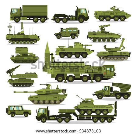 big set of military equipment