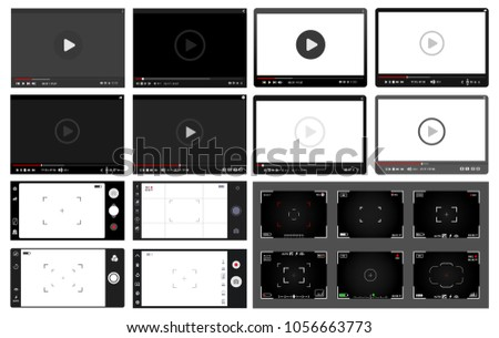 Big Set of modern video players, slr digital camera viewfinder and smartphone camera. Flat design template for web and mobile apps. Vector illustration. Isolated on white background