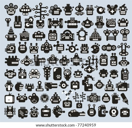 Big set of monsters and robots faces. Vector illustration.