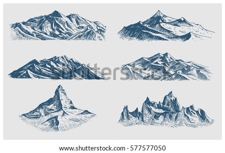 big set of mountains peaks ...
