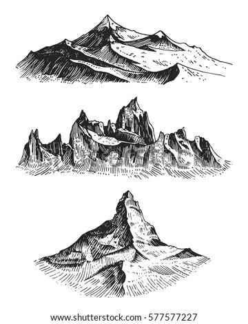 big set of mountains peaks