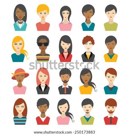 Big set of multi color people heads. avatr profile illustrations.