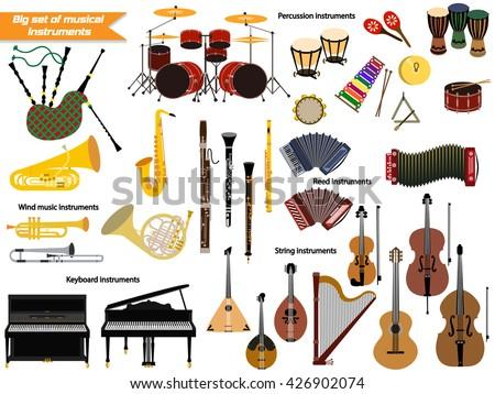 Big set of musical instruments
