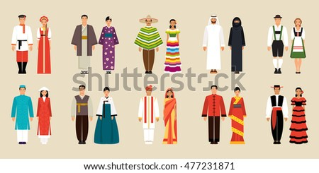 big set of national costumes