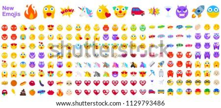 big set of new modern emojis