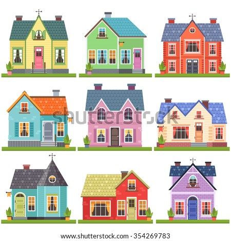 Big set of nine vector illustration of cute colorful for Big cute houses
