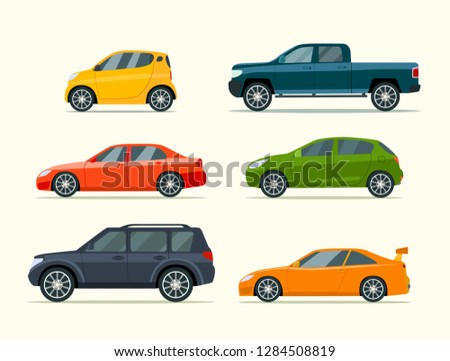 Big set of of different models of cars. Vector flat style  illustration