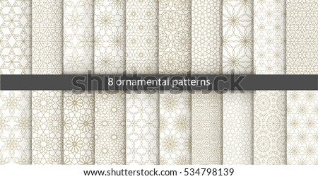 stock-vector-big-set-of-oriental-patterns-white-and-gold-background-with-arabic-ornaments-patterns