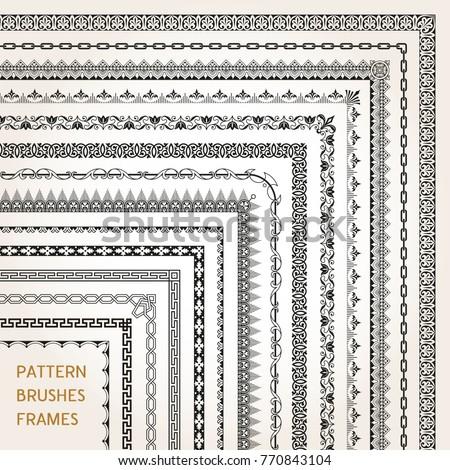 Big set of ornamental corners border frame line pattern brushes 1 vector #770843104