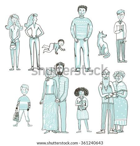 big set of people cartoon style