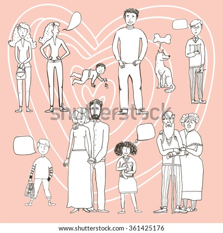 big set of people cartoon style