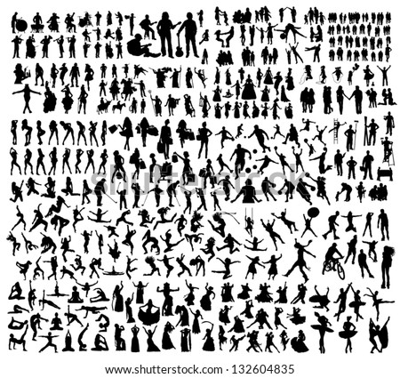 Big set of people silhouettes #132604835