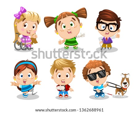 Big set of physically challenged, handicapped children. Little boys and girls with prosthesis, crutches, bandaged arm, guide dog, in wheel-chair are joyful, laughing. Cartoon vector on white. Stock photo ©