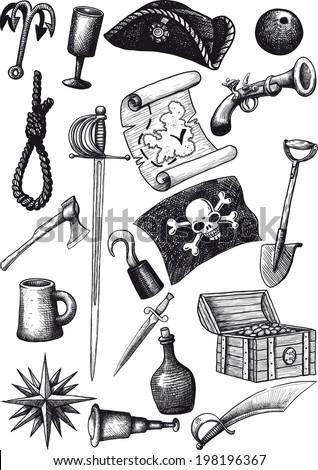big set of pirate attributes