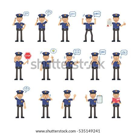 big set of policeman characters