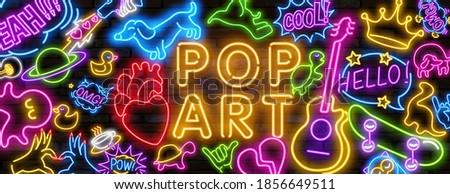 Big set of Pop art neon light sign. Bright signboard, light banner. Vector illustration Pop art icons set. Pop art neon sign.