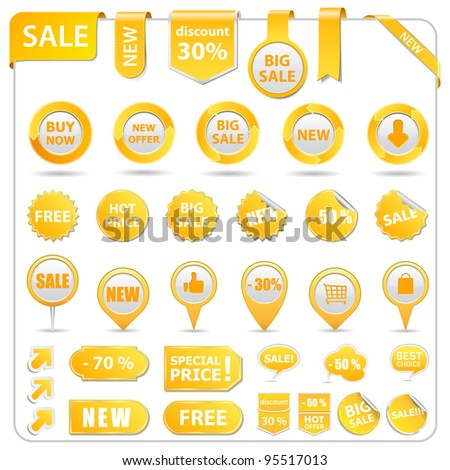 Big set of price tags, ribbons, arrows and stickers, vector illustration