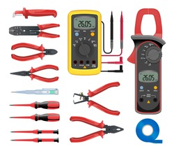 Big set of professional electrician tools. Pliers for stripping wire, pliers, wire cutters, side cutters, screwdrivers, multimeter, digital clamp meter, electrical tape. Isolated on white background.