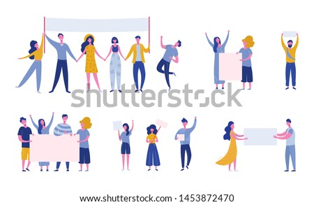 Big set of protesting people holding banners and placards. Men and women characters on political meeting, parade or rally. Group of male and female protesters or activists. Vector flat illustration