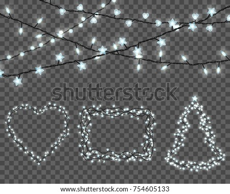Big set of realistic color garlands, festive decorations. Glowing christmas lights isolated on transparent background. Sparkling borders.