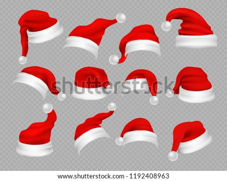 Big set of realistic Santa Hats isolated on transparent background. Vector santa claus hat colllection, holiday cap to xmas illustration - Shutterstock ID 1192408963