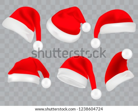 0cf6fad48961b Big set of realistic Santa Hats isolated on transparent background. Vector  santa claus hat colllection