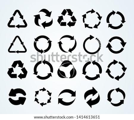 Big set of Recycle icon. Recycle Recycling black symbol. Vector illustration. Isolated on white background.