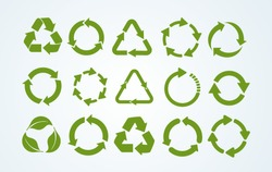 Big set of Recycle icon. Recycle Recycling symbol. Vector illustration. Isolated on white background.