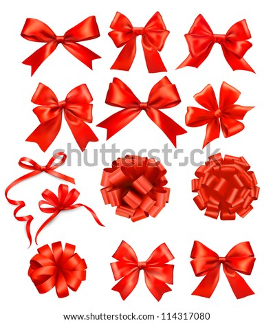 big set of red gift bows with