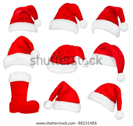 Big set of red santa hats and boot Vector.