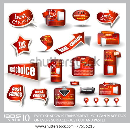 Big set of red style sale and advertisement arrows, bubble speech elements, stickers, web panels, promotional label and pins. All shadows are transparent and ready to be placed on every surface.