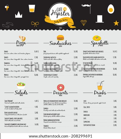 Big set of restaurant and cafe menu design, template design in vector. Cooking frames, labels and graphic elements in hipster style design. Vintage-styled illustration. Fast Food.