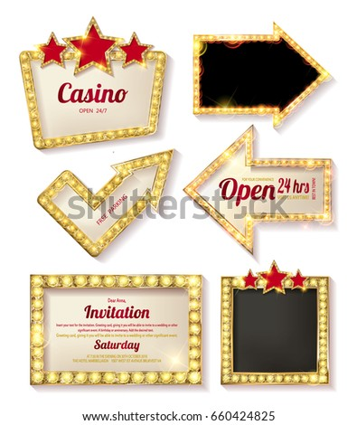 Big set of retro frames with glowing lamps. Collection of banners with shining lights in vintage style isolated on red background. Vector illustration.